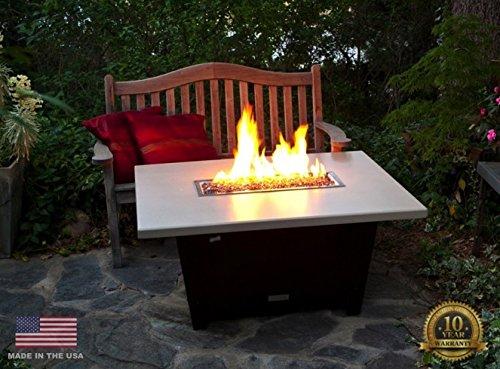 Palisades Rectangular Fire Pit Table - Legged - Propane - Beige Powdercoat Top - Bronze Powdercoat Base