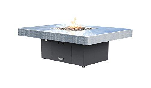 Santa Barbara Rectangular Fire Pit Table - 48 X 36 - Natural Gas - Brushed Aluminum Top - Grey Texture Powdercoat