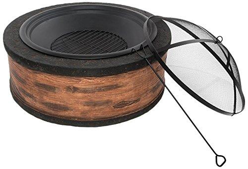Sun Joe SJFP35-RW-STN Fire Joe 35 Rustic Wood Cast Stone Fire Pit