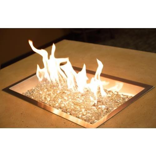 Outdoor Greatroom Company Diy 12&quot X 24&quot Rectangular Crystal Fire Pit Burner
