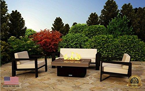 Santa Barbara Rectangular Fire Pit Table - 40 x 30 - Natural Gas - So Cal Special Granite - Grey Granite Texture Powdercoat Base