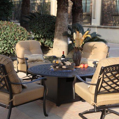 Darlee Sedona 5 Piece Cast Aluminum Patio Fire Pit Conversation Seating Set - Antique Bronze
