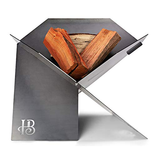 Hillenbrand Co Fire pit Outdoor in Thick Weathering Steel Made in Australia A Striking and Versatile Wood Burning Fire pit for Deck Patio Camping RV Portable Firepit with Heavy Duty Canvas Bag