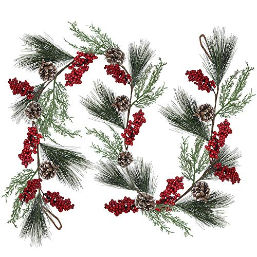 66 feet Artificial Christmas Pine Garland with Berries Pinecones Cypress Winter Greenery Garland for Holiday Season Mantel Fireplace Table Runner Centerpiece Decoration