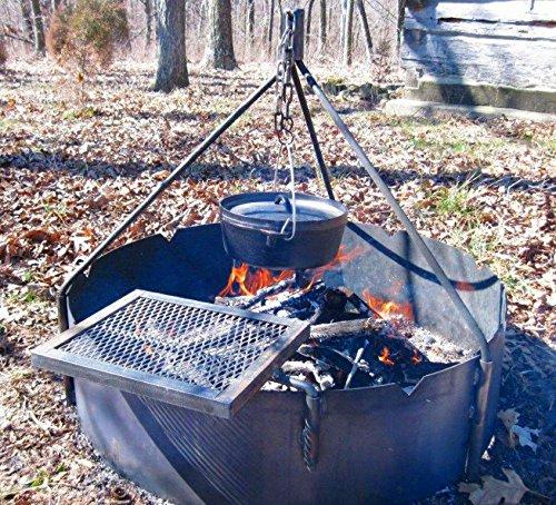 36&quot Steel Fire Ring  Tri Pod  Swing Grate