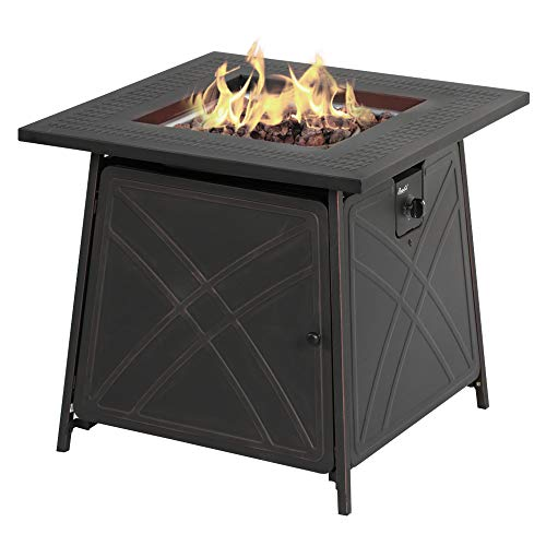 BALI OUTDOORS Firepit LP Gas Fireplace 28 Square Table 50000BTU Fire Pit Black