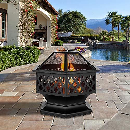 Outdoor Fire Pit275 Firepit Table BBQ Grill Backyard Patio Stove Wood Burning Fire Bowl Chiminea wMesh Spark Screen Poker for BackyardCampingPicnicBonfireGarden - Hexagonal ShapedBlack