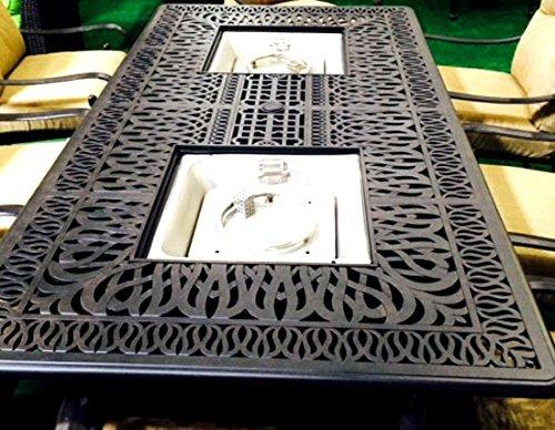 Cast Aluminum Patio Fire Table Propane Dining Double Burner Fire Pit Table Desert Bronze