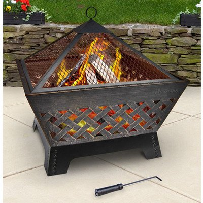 Landmann 25282 Barrone Fire Pit With Cover 26-inch Antique Bronze