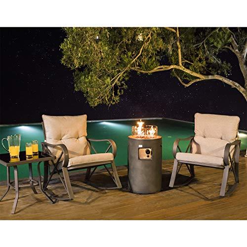 COSIEST 4-Piece Propane Fire Pit Rocking Furniture Bistro SetOutdoor Garden Furniture Rocking Chair w 16-inch Round Natural Gas Fire Table 40000 BTU w Glass Wind Guard for GardenPool Backyard