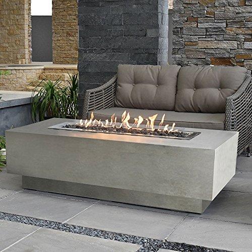 Elementi Fire Pit 60 Rectangular Concrete Natural Gas Fire Table Outdoor Patio Furniture Lava Rock Canvas Cover are Included Granville Gray