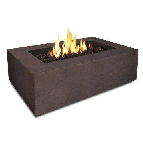 Real Flame Baltic Rectangle Natural Gas Fire Table Kodiak Brown 50000 BTU