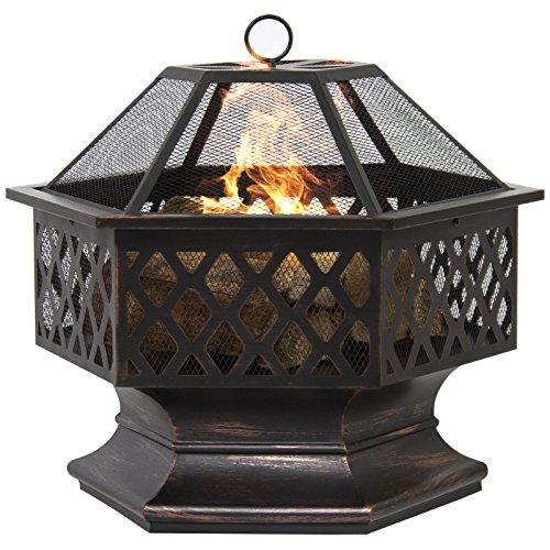 BCP Hex Shaped Fire Pit Outdoor Home Garden Backyard Firepit Bowl Fireplace PMN4534TG48 3464YHREx43918