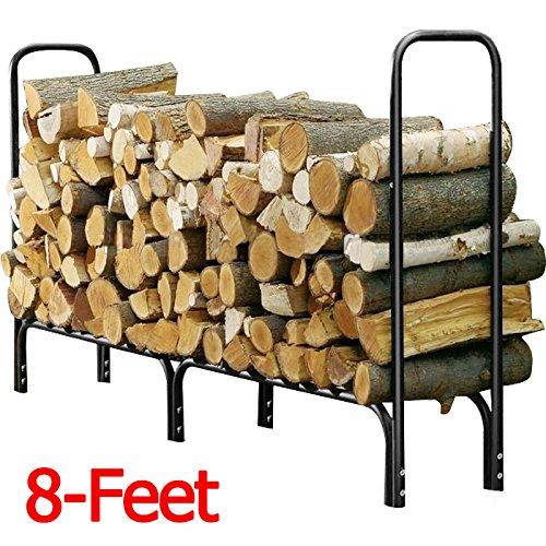 Yaheetech Outdoor Log Rackteel Firewood Storage Holder Black 8-feet