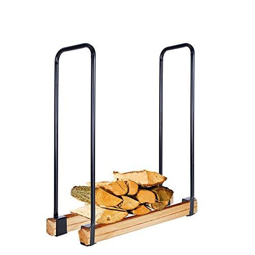 Yescom Adjustable Black Backyard Outdoor Kitchen Storage Firewood Log Rack Fireplace Log Carrier Holder