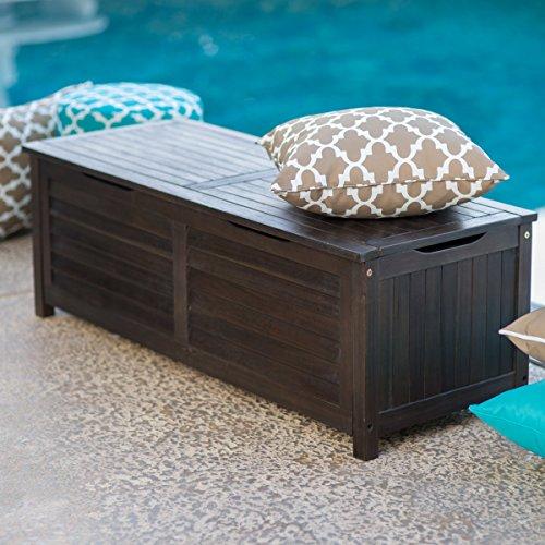 Weather Resistant Outdoor Wood Storage Deck Box - Dark Brown