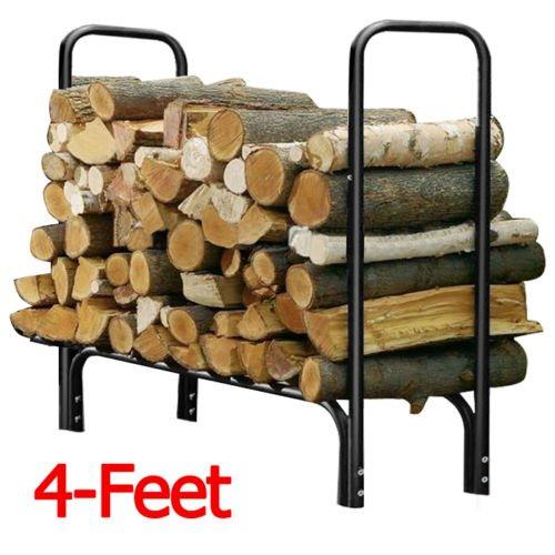 4 Feet Outdoor Heavy Duty Steel Firewood Log Rack Wood Storage Holder Black