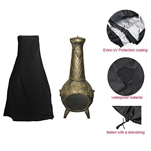 Zulux Chiminea Cover - Premium Outdoor Cover with Durable Waterproof 190T Polyster Material Outdoor Garden Heater Cover UV Protective Chimney Fire Pit Cover