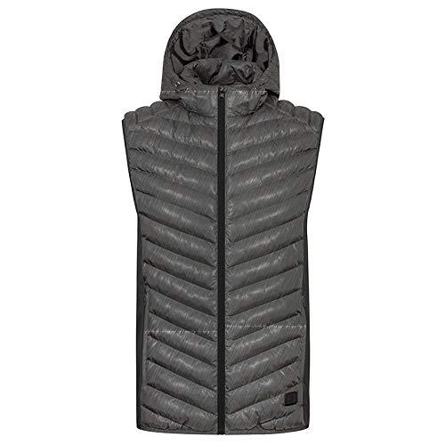 JennyBen Mens Winter Outdoor Heating Hooded Hiking Vest Battery Heating Vest Jacket USB Infrared Electric Coat Gray_L 180_C