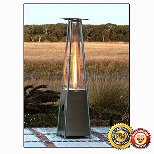 New Pyramid Outdoor Yard Stainless Steel  Mocha Propane Patio Heater Tower Floor