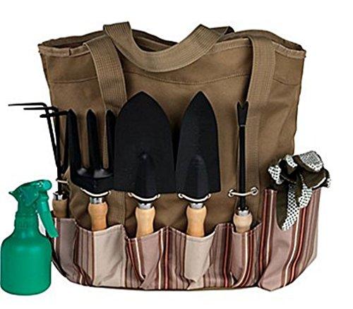 Scuddles 7 Piece Garden Tools Set with 7 Gardening Tools Digger Weeder Rake TrowelTransplanter Garden Tote Bag and Gloves