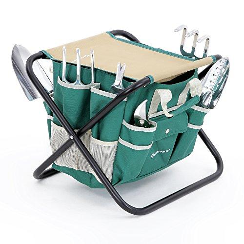 Songmics 8 Piece Garden Tool Set W/ Tool Bag Folding Stool Uggs39l