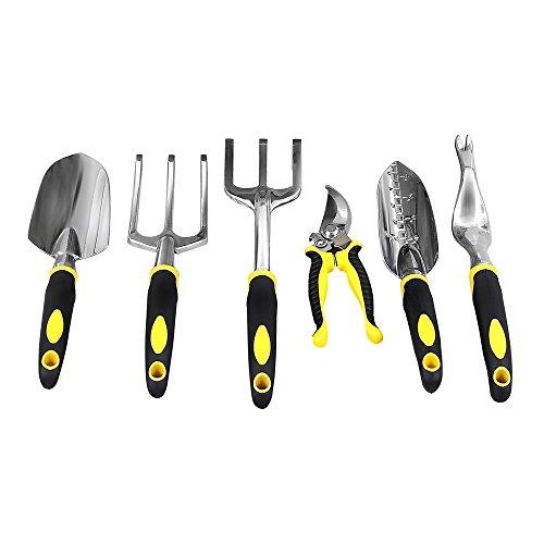 Songmics Garden Tool Set 6-piece Garden Kit With Heavy Duty Cast-aluminum Heads & Ergonomic Handles Uggt600