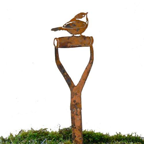 Elegant Garden Design Chickadee Shovel Handle Steel Silhouette with Rusty Patina