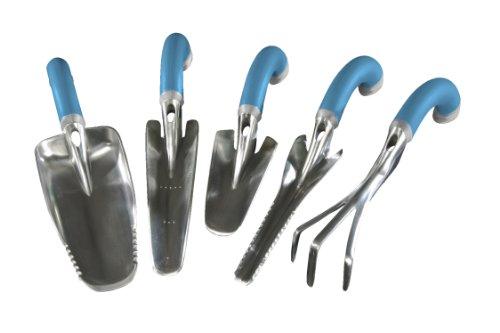 Radius Garden 5-piece Blue Ergonomic Hand Tool Set Includes Trowel Transplanter Weeder Cultivator And Scooper