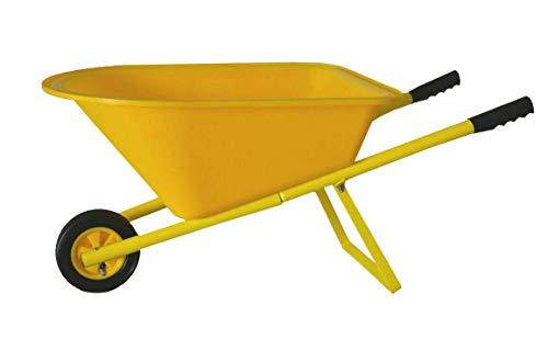 LOVELABEL Kids Garden Tool Childrens Wheelbarrow with Metal Handles Yellow