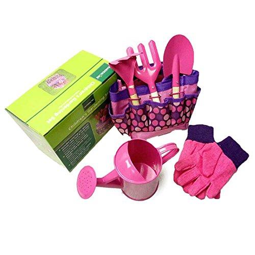 Lightcolor Garden Outdoor Metal Shovel Gloves Kettle Set,6 PCSSet Childrens Garden Tool Set