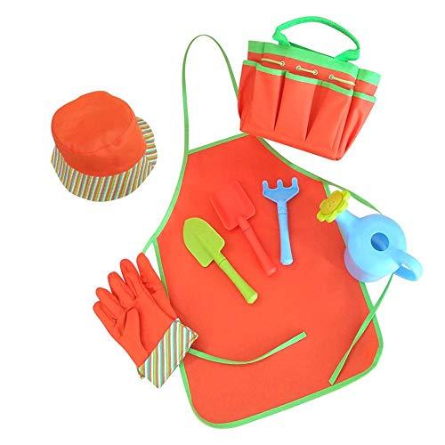 Nicemeet Children Gardening Tools Set 8PCS Kids Garden Tool Toys Kids Gardening Tools with Shovel Harrow Fork Watering Can Hat Bib Gloves