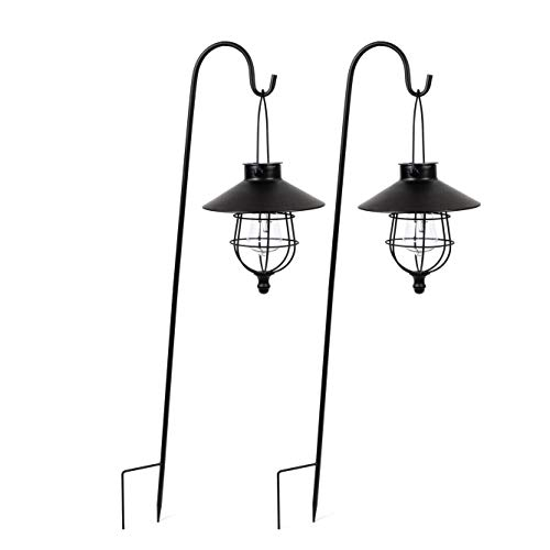 Solar LED Pathway Stake Lights 2-Pack Outdoor Metal Lights are 3ft High Solar Powered for easy no wire installation Light Comes with Shepherds Hook - Great for pathways porches gardens or decks
