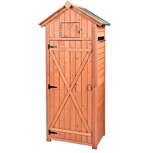B BAIJIAWEI Garden Storage Shed - Garden Tool Storage Cabinet - Lockable Arrow Wooden Storage Sheds Organizer for Home Yard Outdoor