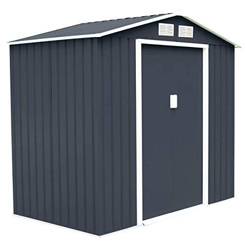 Goplus 7 X 4 Outdoor Storage Shed Steel Garden Tool House wSliding Door Gray