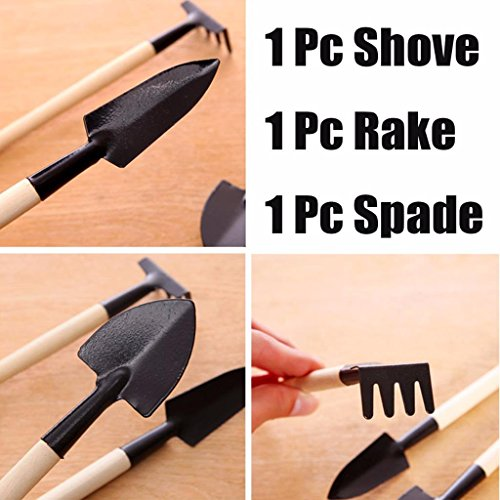 LONG7INES 3-Pack Small Garden Tool Set - Garden Triangle shovelSquare shovelRake for Women Shovel Rake Spade Wood Stick