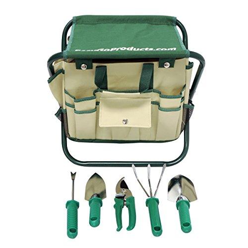 7 Piece Garden Seat Tool Set Kit Includes 5 Tools Pruner Hand Shovel Cultivator hand Rake Or Hoe Trowel