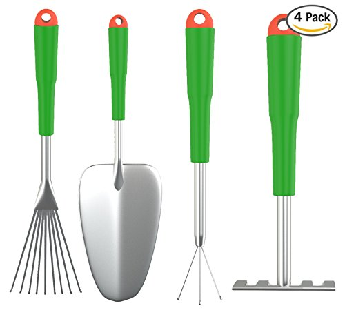 Wild And Green Gardening Tools 4-piece Set Includes A Short Hand Shovel 3-prong Cultivator And 2 Hand Rakes Ideal