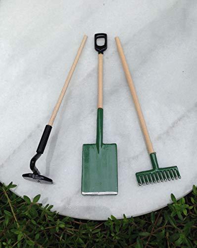 Adjore Miniature Dollhouse Fairy Garden Accessories ~ Shovel Hoe Rake Tool Set ~ New ~ Best Outdoor Accessory