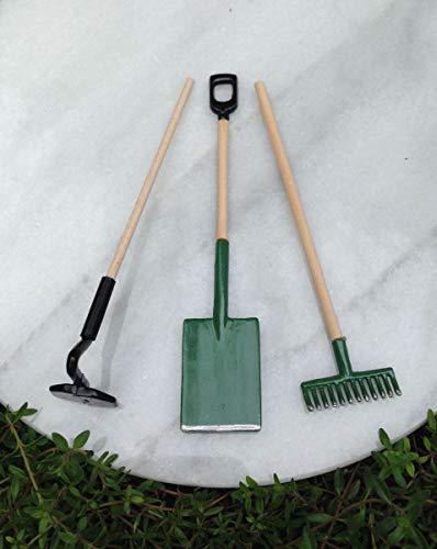 Miniature Dollhouse Fairy Garden Accessories ~ Shovel Hoe Rake Tool Set ~ New