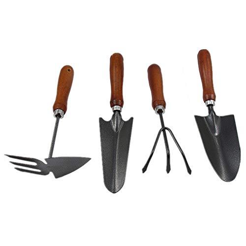 QIJ 4-Piece Garden Tool SetHand Tool Gift SetErgonomic Handles Garden Antirust ShovelHoeRake30CM
