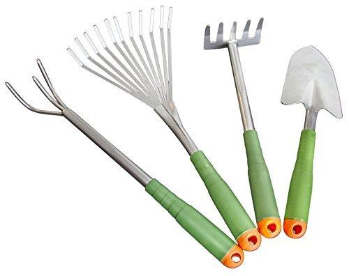 4 Piece Garden Hand Tool Set Extra Long Lightweight - EZ on Your Back Ergonomic Design Storage Box Model GnP-001 Home Garden Store