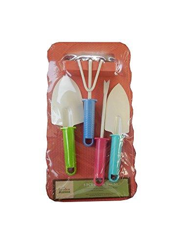 5 Piece Garden Hand Tool Set Includes Trowel Cultivator Weeder Transplanter Kneeling Pad Pink