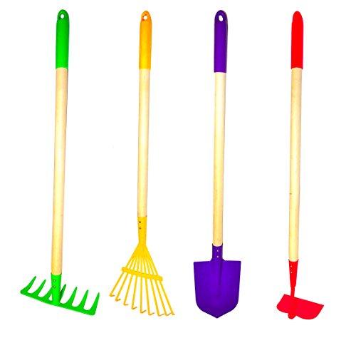 Gamp F 10018 Justforkids Kids Garden Tools Set Rake Spade Hoe And Leaf Rake 4-piece