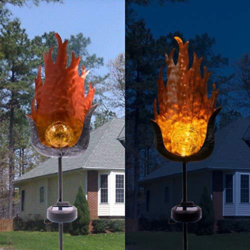 Solar Pathway Lights Outdoor - Garden Flame shape Glass Globe Stake Metal Lights Led Solar Landscape Lights Waterproof Auto OnOff Sun Powered SLighting Decorate Yard PatioCourtyard 315inch