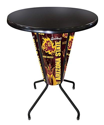 Holland Bar Stool Co OutdoorIndoor Pitchfork Logo with 36 Dia LED Lighted Arizona Pub Table with Black