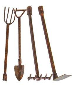 Rusty Mini Garden Tools Set Shovel Rake Pitchfork Hoe Country Primitive Garden D&eacutecor