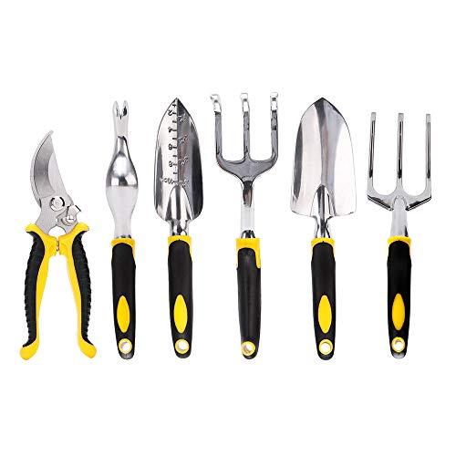 Hellofishly 7 Piece Garden Tool Set Ergonomic Non Slip Handle 6 Pieces Aluminum Alloy Yard Outdoor Garden Tools 1Piece Carrying Case