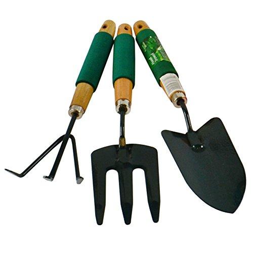 Garden Gardening Hand Rake  Spade  Shovel  Fork 3pc Set Digging Cleaning
