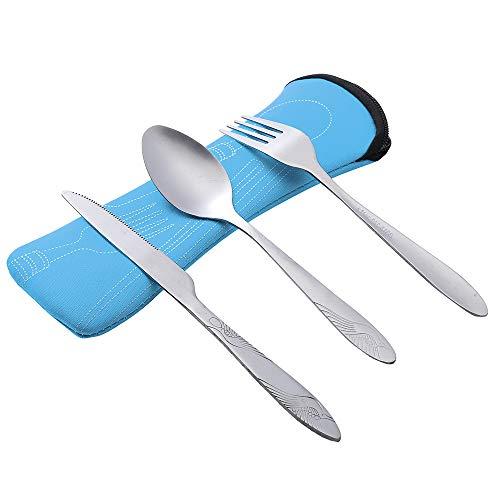 3PCSSet Fork Spoon Knife Set Metal Flatware Set Stainless Steel Cutlery Set Portable Tableware Set Utensils Carrying Case Set Blue